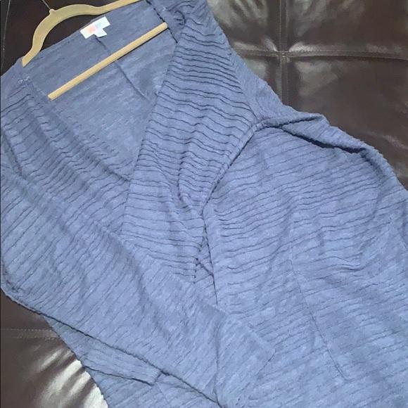 LuLaRoe Sweaters - LuLaRoe Pin Tuck Blue Sarah Duster Cardigan